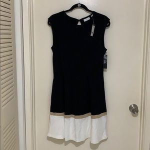 NY&C Black dress with white and beige detail